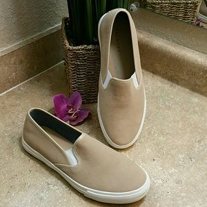 Talbots Suede Slip On Boat Loafer Shoes Size 8